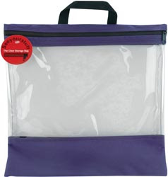 clear storage bag with duck cloth on top and bottom