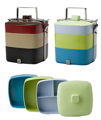 2 colorful 3-tier stacked bento boxes, and one unstacked