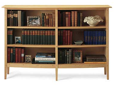 low bookcase, light wood
