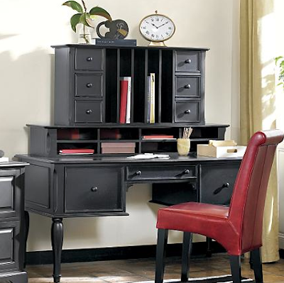 black desk with two types of hutches