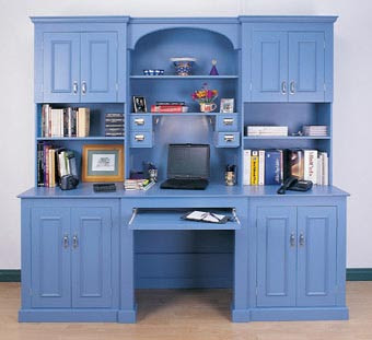 blue desk with large hutch