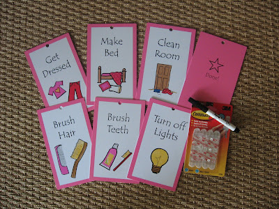 morning chore cards in pink, for a girl