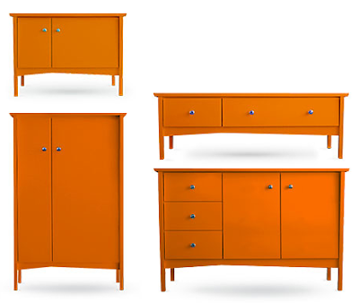 four orange storage pieces