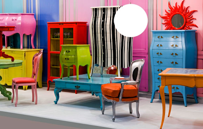 brightly-colored furniture