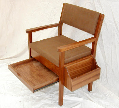 wood chair with drawer and removable book rack