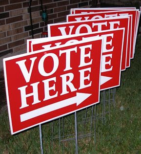 Vote Here signs