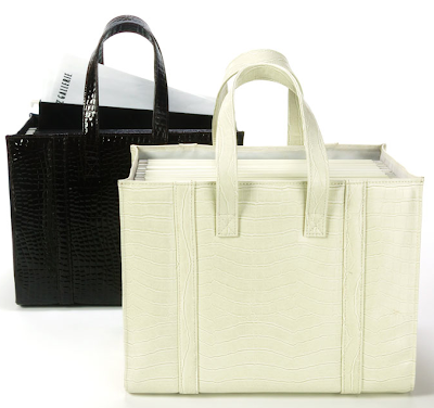 two file totes, one each in black and white