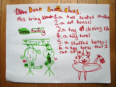wish list, child to Santa
