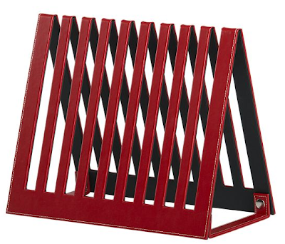 red magazine rack