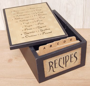 recipe box with measurement equivalents on lid