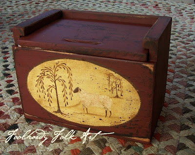 wooden recipe box with sheep