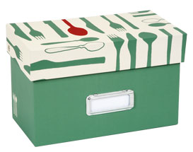 recipe box with cutlery design