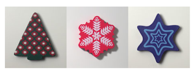 3 Christmas magnets: tree, snowflake, star