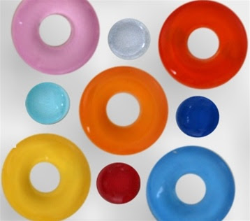 Italian glass magnets - dots and donuts