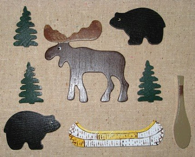 Northwoods pushpins with moose, bear, canoe