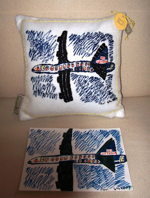 child's art made into a pillow