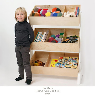 wood toy storage bins in rack