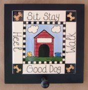 leash holder, tile with wood frame