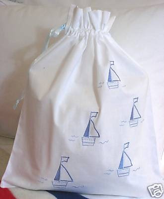 laundry bag with embroidered boats