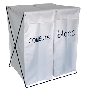 double laundry sorter - couleurs and blanc