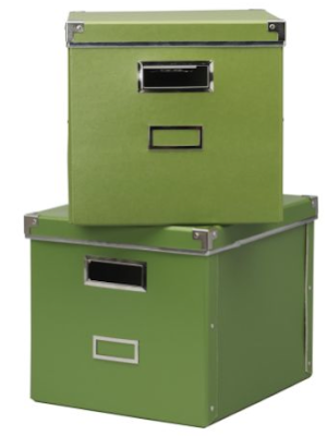 green storage boxes