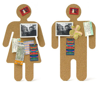 bulletin board shaped like man and woman