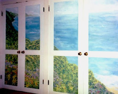 mural on closet door - Kauai coast, Hawaii