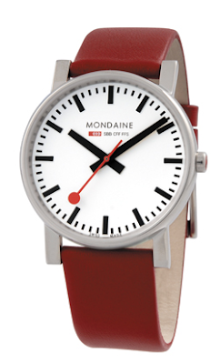 Mondaine Swiss Railways watch with red strap, men's