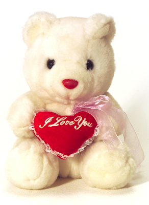teddy bear with heart saying I Love You