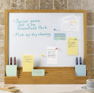 magnetic dry-erase whiteboard, with pockets