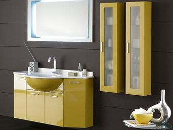 bathroom cabinets, wall-mounted, yellow