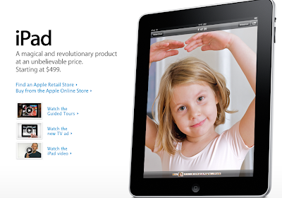 Apple's web site, iPad page - lots of white space