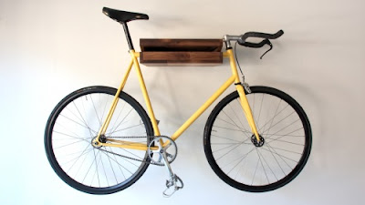 wall-mounted bike rack, wood