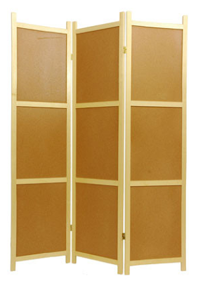 shoji screen room divider with cork board panels
