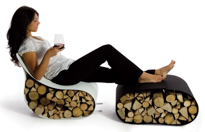 creative firewood storage - combining with chair and ottoman / footstool