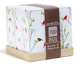 sticky notes cubes with birds
