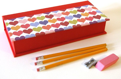 pencil box decorated with hearts