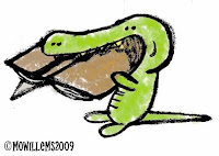 Alligator eating a book cartoon