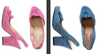 zapato rosa y azul