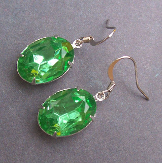 vintage glass jewel earrings peridot green silver hollywood glam