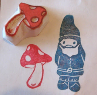 image handcarved toadstool rubber stamp
