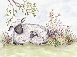 image painted mama and baby sheep notecard