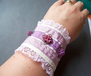 wildberry fabric cuff two cheeky monkeys purple amethyst cabochons lace flowers ribbon