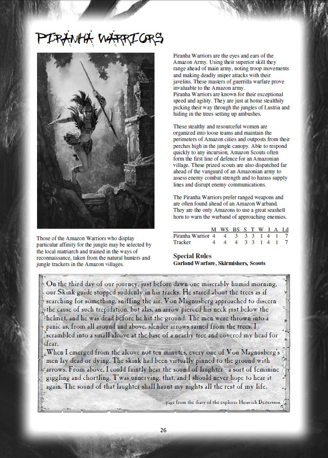 Warhammer Fantasy Battle Tabletop Gaming: Amazons - a NEW