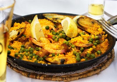 Paella with Rabbit, Shrimp and Bay Scallops
