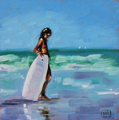 beach painting, girl with boogie board, blue, waves, debbiemillerpainting.blogspot.com