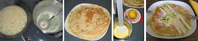 Zubereitung Pfannkuchen mit Spargeln, Schinken und einer schnellen Sauce Hollandaise