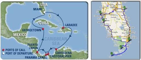 Reiseroute Karibik-Kreuzfahrt und Florida-Rundreise