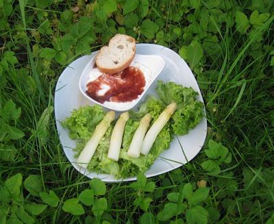 Weißes Spargel-Parfait mit Portweingelee auf Salat