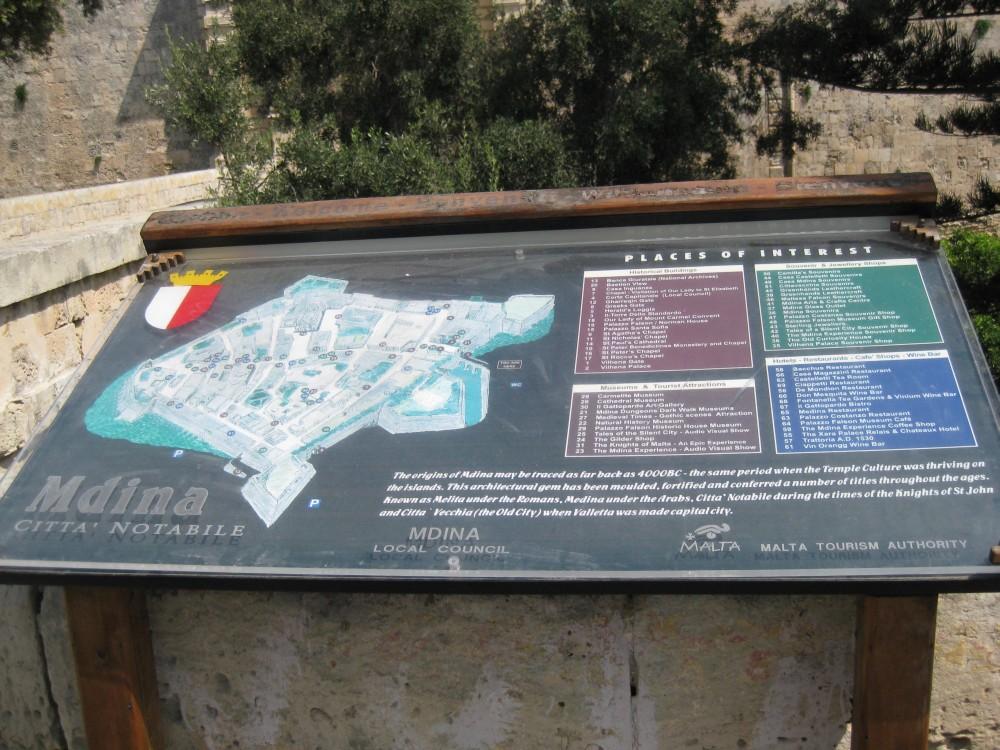 Stadtplan Mdina, Malta